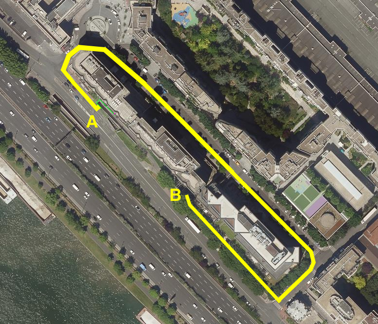 Schéma d'implantation des barrages souples anti-crue Water-Gate autour de plusieurs bâtiments à Charenton-le-Pont.