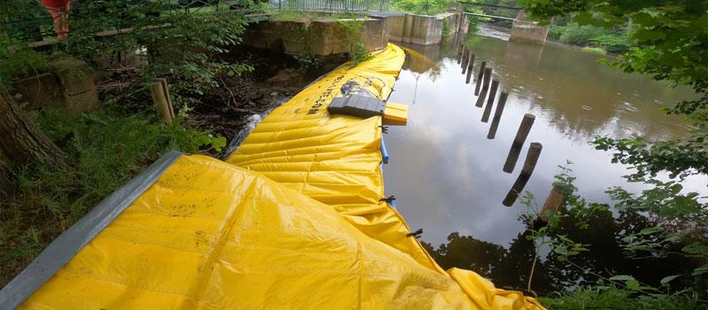 Afvigelse af en flodarm ved fleksibel kuffert Water-Gate © | Reparation af Bruche vindesystem i Mutzig