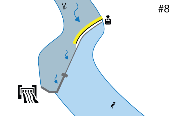 Water-Gate © fleksible kofferdamme. Diagram over et anlæg på en flodgrænse Spild. Sag nr. 7
