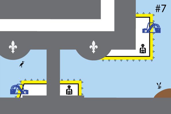 Batardeaux souples Water-Gate©. Schéma d'une installation en U | Installations Douves et Plans d'eau. Cas #7